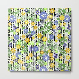 Yellow green floral pattern on a striped background. Metal Print
