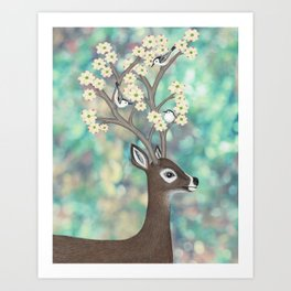 white tailed deer, white breasted nuthatches, & dogwood blossoms Art Print