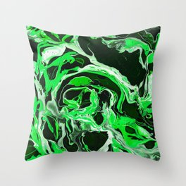 Original Marble Texture - Lime Green Throw Pillow