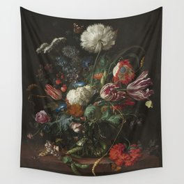 Jan Davidsz de Heem - Vase of Flowers (c.1660) Wall Tapestry
