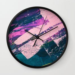 Wonder. - A vibrant minimal abstract piece in jewel tones by Alyssa Hamilton Art Wall Clock