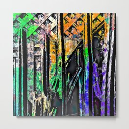 cactus with wooden background and painting abstract in green orange blue purple Metal Print