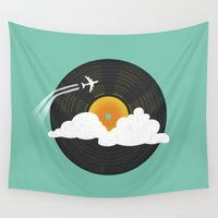records Wall Tapestries featuring Sunburst Records by Dianne Delahunty