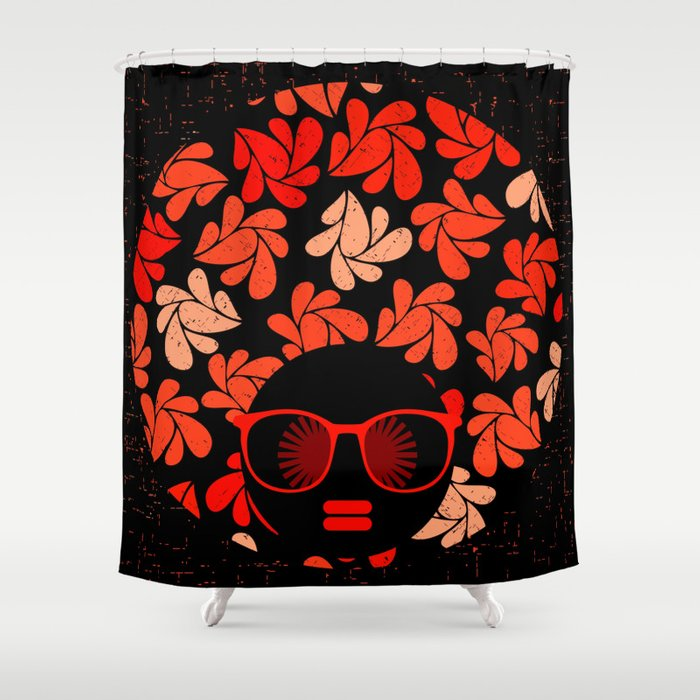 Afro Diva Coral Red Shower Curtain By Bsavvy