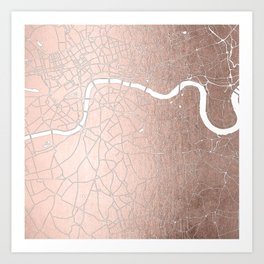 RoseGold on White London Street Map II Art Print