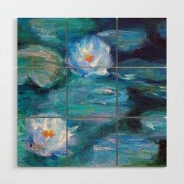Blue Water Lilies Wood Wall Art