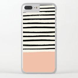 Peach x Stripes Clear iPhone Case