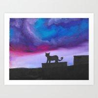 Black Cat and Bright Night Sky Art Print