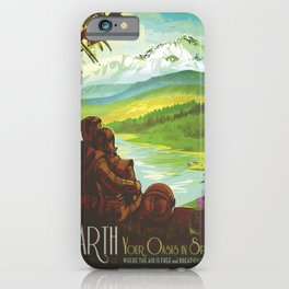 Earth Retro Space Poster iPhone Case
