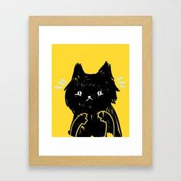 Scaredy Cat - Cute scared black kitty cat illustration Framed Art Print