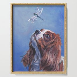 Beautiful Blenheim Cavalier King Charles Spaniel Dog Painting by L.A.Shepard Serving Tray