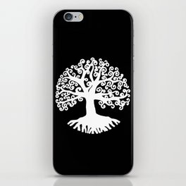 black and white abstract tree of life II iPhone Skin