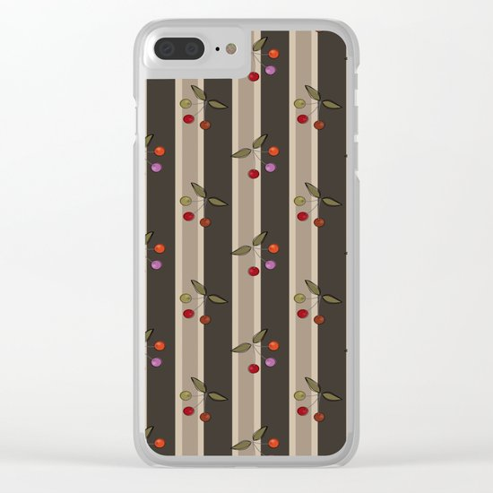 Colorful cherries on a brown striped background . Retro . Clear iPhone Case