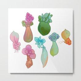 Pastel Succulents Metal Print
