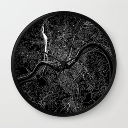 Cincinnati Black Map Wall Clock