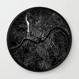 Cincinnati Black Map Wall Clock