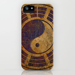Purple Yin Yang Sign on Granite iPhone Case