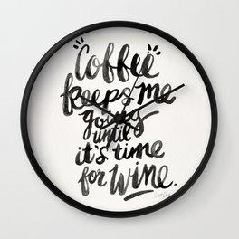 Coffee & Wine – Black Ink Wall Clock