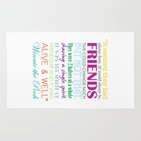 winnie the pooh Area & Throw Rugs featuring Winnie the Pooh Friendship Quote - Bright Colors by Jaydot Creative