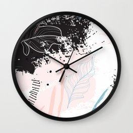 Exotic leaves on grunge background Wall Clock