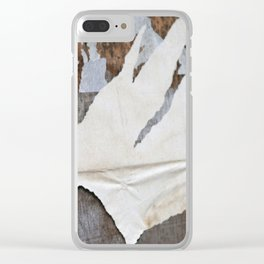 rusty orange wall with poster shreds Clear iPhone Case