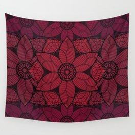 Red flower mandala Wall Tapestry