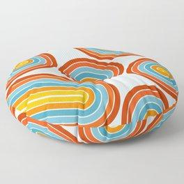 Retro Motion 2 – Orange / Yellow / Blue Abstract Stripe Pattern Floor Pillow