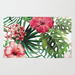 Tropical- Hibiscus and fern Rug