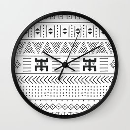 Black and white tribal ethnic pattern with geometric elements, traditional African mud cloth, tribal Wall Clock