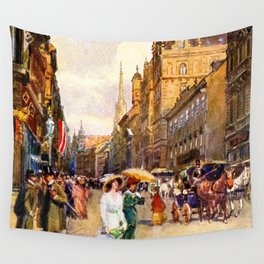 Great vintage belle epoque scene Vienna Austria  Wall Tapestry