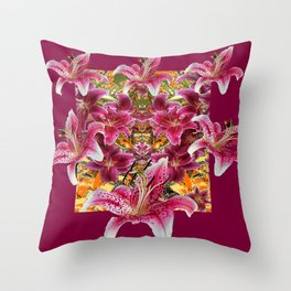 BURGUNDY STAR GAZER LILY FLOWER  ART Throw Pillow