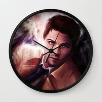 castiel Wall Clocks featuring Castiel by jasric