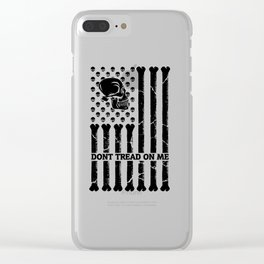 Don't Tread On Me Skull Bones Flag Clear iPhone Case
