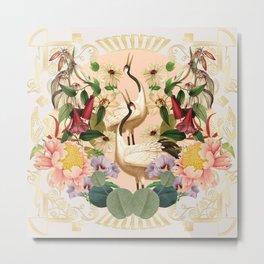 Heron -Gold- Metal Print