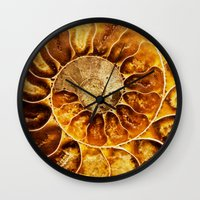 minerals Wall Clocks featuring AMAZING AMMONITE by Catspaws