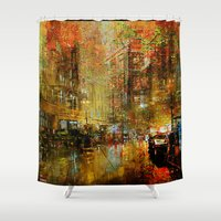 detroit Shower Curtains featuring An evening in Detroit by Ganech joe