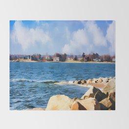 New England Shoreline - Painterly Throw Blanket