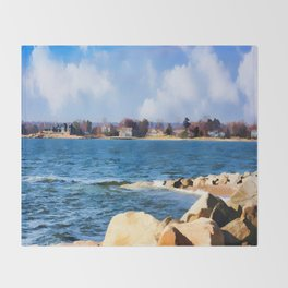 New England Shoreline - Painterly Throw Blanket