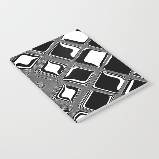 Black and white abstract design with fancy squared patterns on grey Notebook