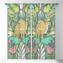 Cheetah Couple Illustration, Wild Cat Jungle Nature, Mandala Painting, Wildlife Tropical Tiger Sheer Curtain