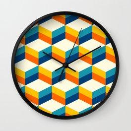 Retro 3D striped cubes pattern teal & orange Wall Clock