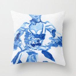 1792 a la campgne -blue ink fashion illustration Throw Pillow