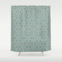 Mint and Cream Pastel Star Pattern Shower Curtain