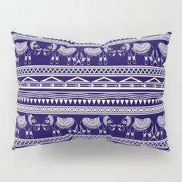 White and Navy Blue Elephant Pattern Pillow Sham