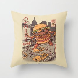 Burgerzilla Throw Pillow