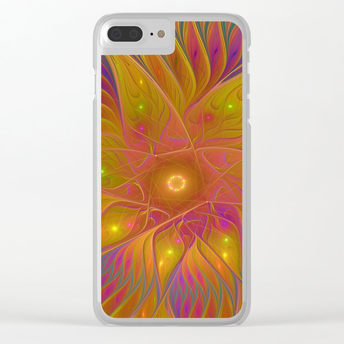 Colorful and Luminous Flower, Abstract Fractal Art Clear iPhone Case