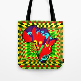 Colorful African Checkered Abstract Print Tote Bag