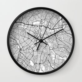 Sao Paulo Map White Wall Clock