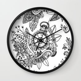 Doodle Art Flowers Feathers Clock Wall Clock