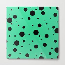 Black Bubbles On Green Metal Print
